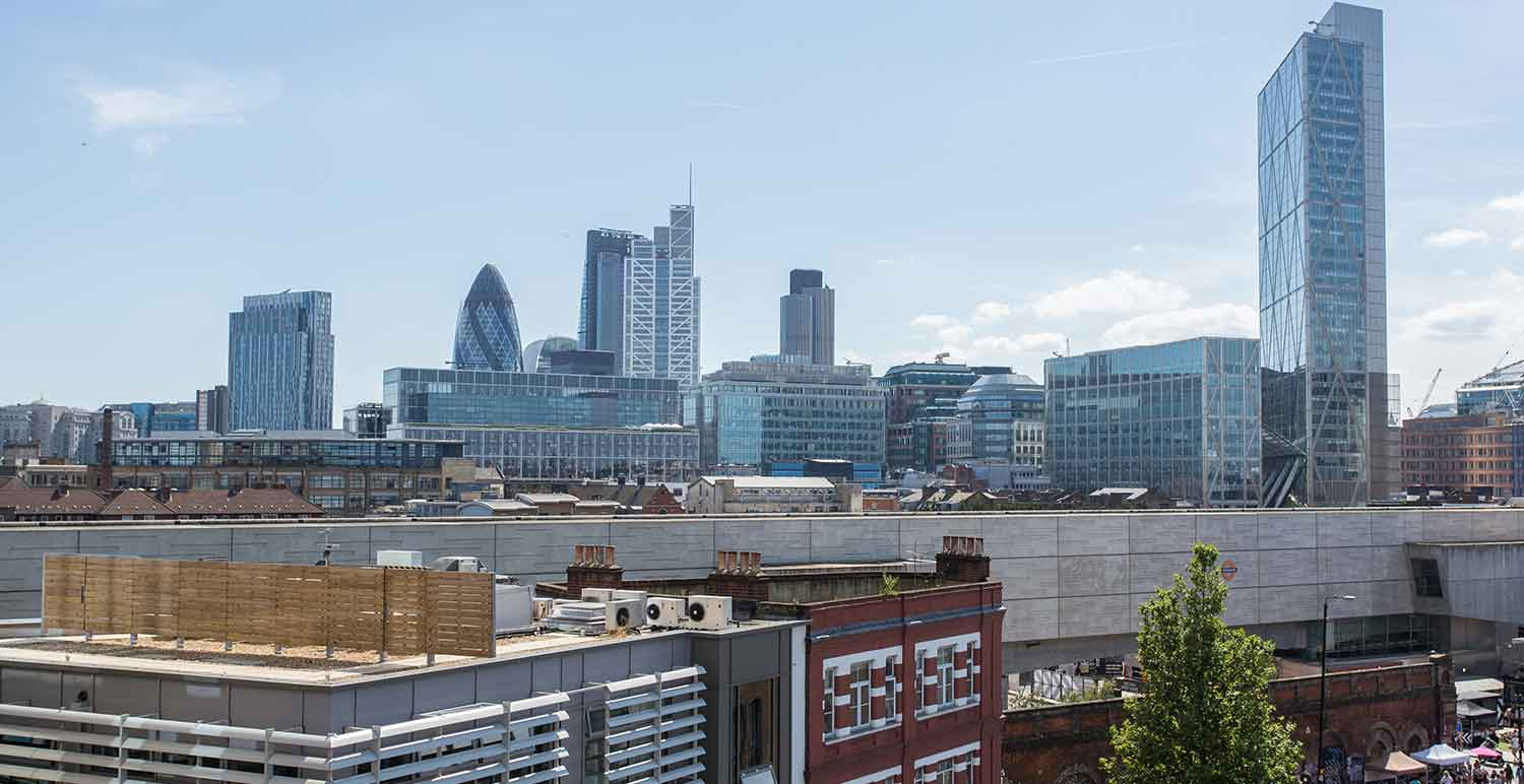 Skyline view at office space in Shoreditch