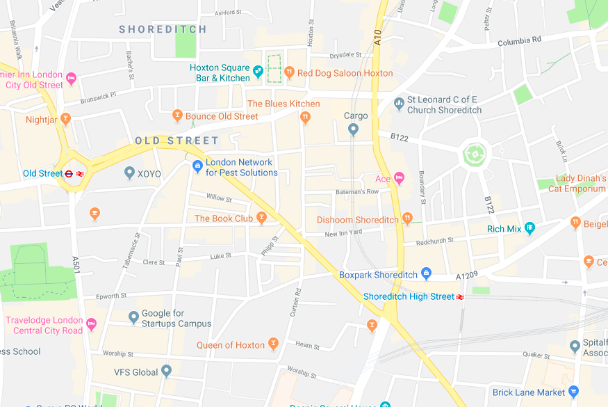 Map of Shoreditch and Old Street
